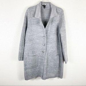Torrid Gray Button Front Long Plus Size Cardigan